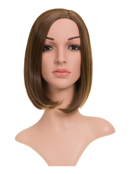 Long Bob Full Head Wig Chestnut Brown on display mannequin. Front view.