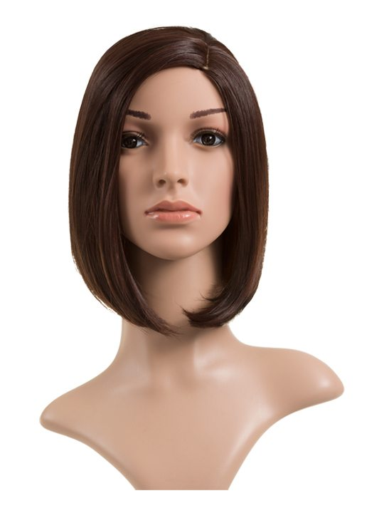 Long Bob Full Head Wig Black Cherry on mannequin. Front display.
