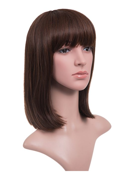Nichole A Line Bob Full Head Wig With Bangs In Warm Brunette Koko