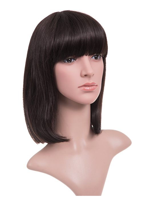 full head wig with bangs in dark brown