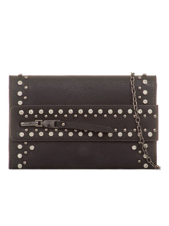 Alivia Black Gem Clutch Bag