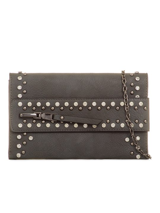 Grey Gem Clutch Bag