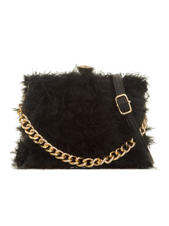 Polly Black Feather Handbag front view