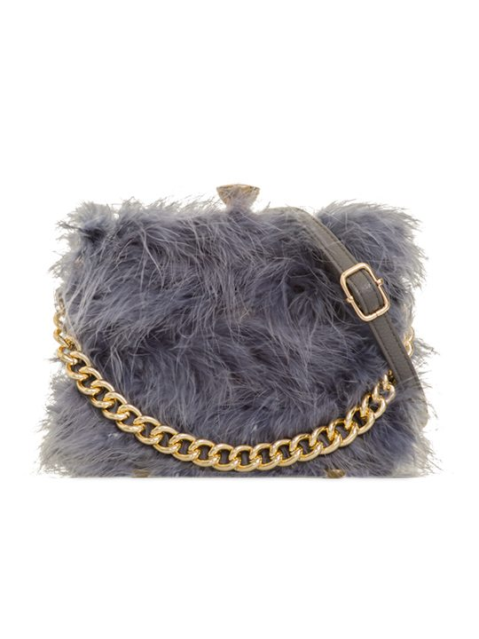 Polly Grey Feather Handbag front view