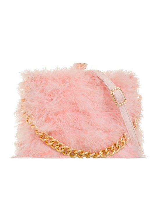 Polly Pink Feather Handbag front view