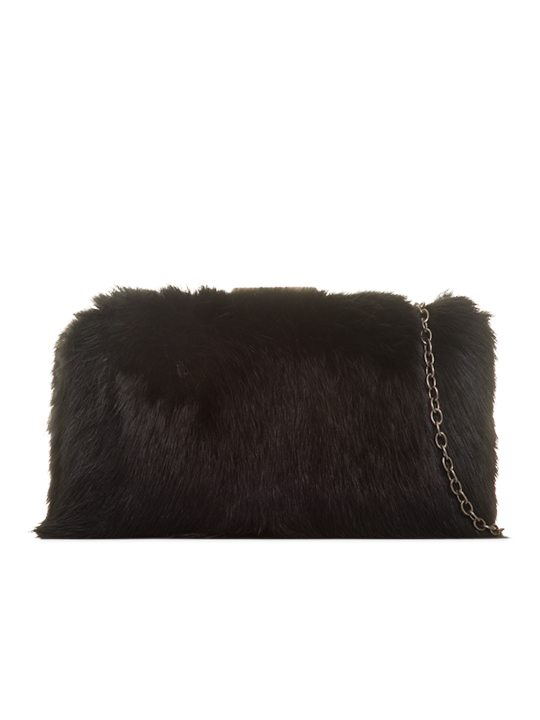Black Fur Box Clutch Bag front view
