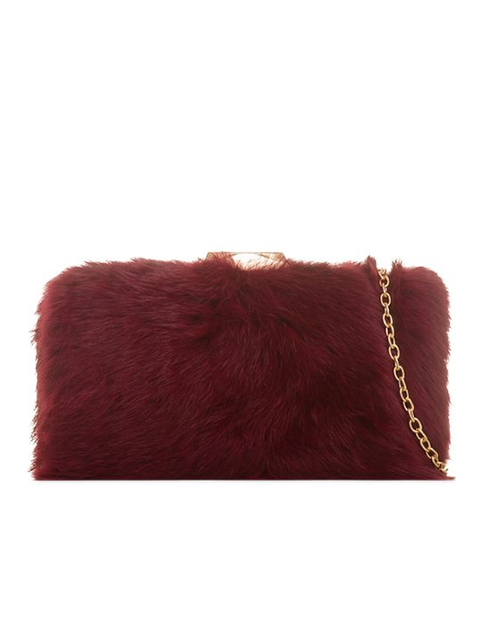 Burgundy Fur Box Clutch Bag front view