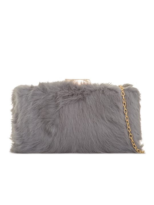 Grey Fur Box Clutch Bag front view