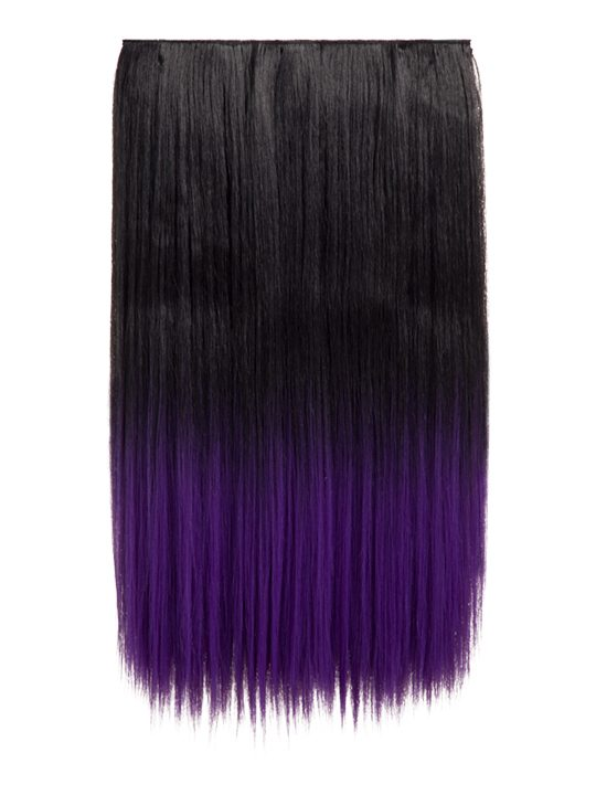 Dip Dye Straight Hair Extensions Natural Black Dark Purple