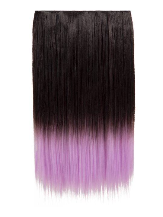 Dip Dye One Piece Straight Hair Extensions Raven Lilac