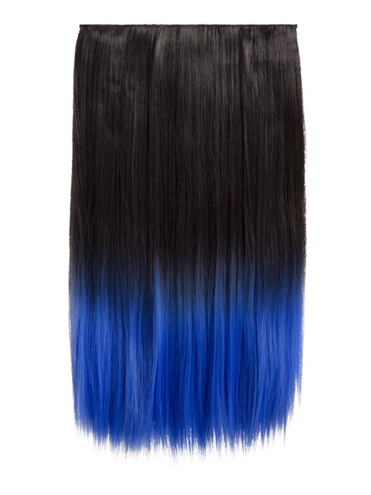 Dip Dye One Piece Straight Hair Extensions Raven Electric Blue
