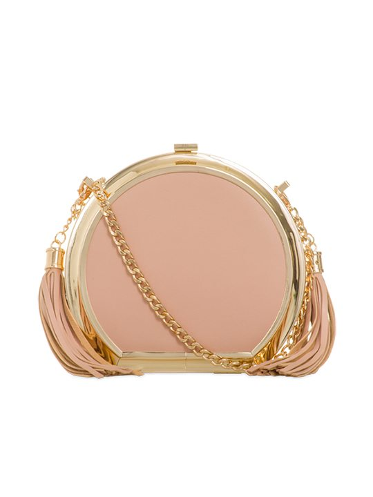 Front image of KOKO Couture pink tassel clutch bag
