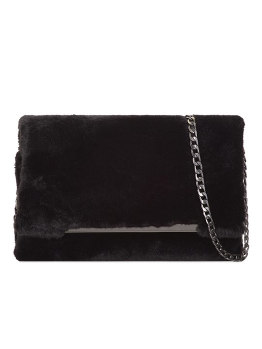Front view of Black Faux Fur Shoulder Bag