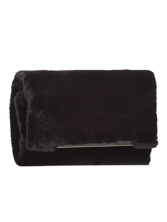 Side view of Black Faux Fur Shoulder Bag