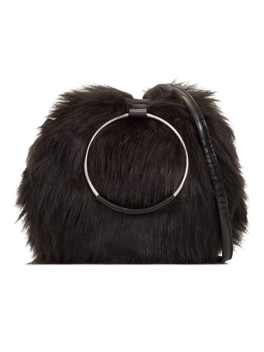 aubrey faux fur handbag black
