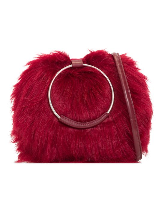 aubrey faux fur handbag burgundy