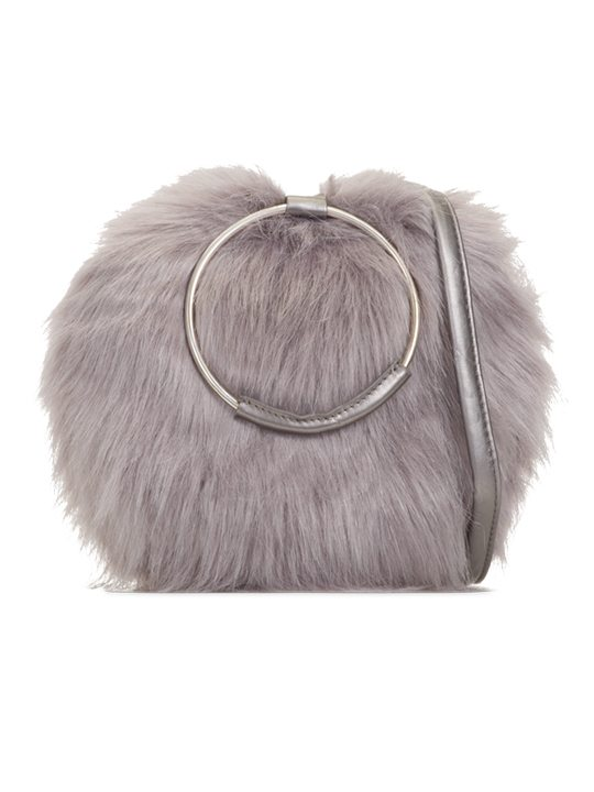 Aubrey faux fur handbag grey