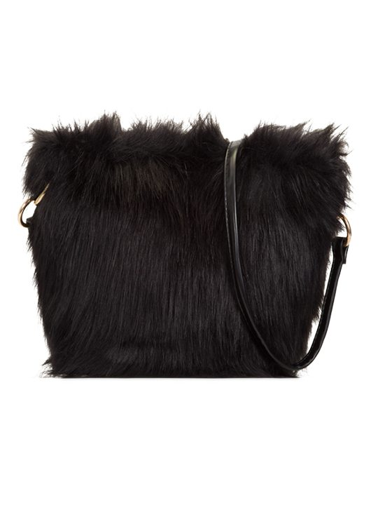 Front view Faux Fur Shoulder Bag Black