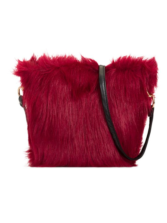 Front view of Red Faux Fur Shoulder Bag
