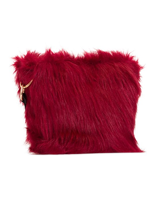 Side view of Red Faux Fur Shoulder Bag