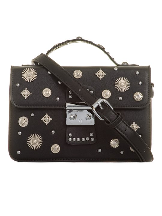 Front view of Black Embellished Cross Body Bag