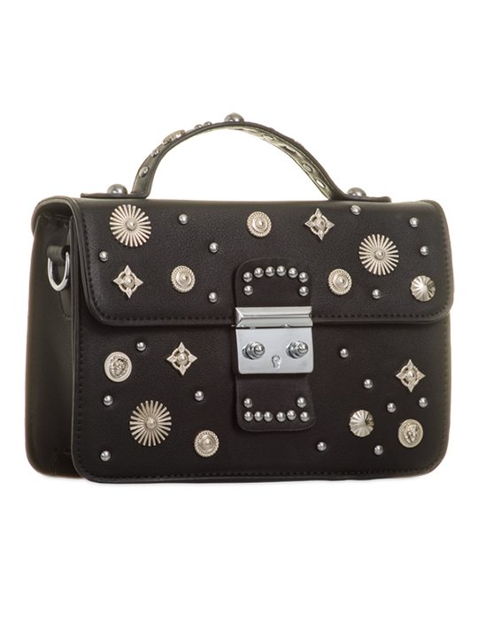 Side view of Black Embellished Cross Body Bag