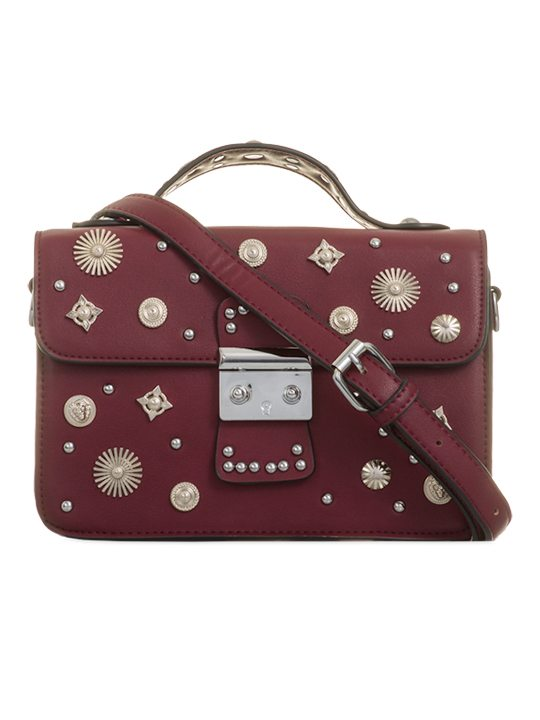 Front view of Burgundy Embellished Cross Body Bag