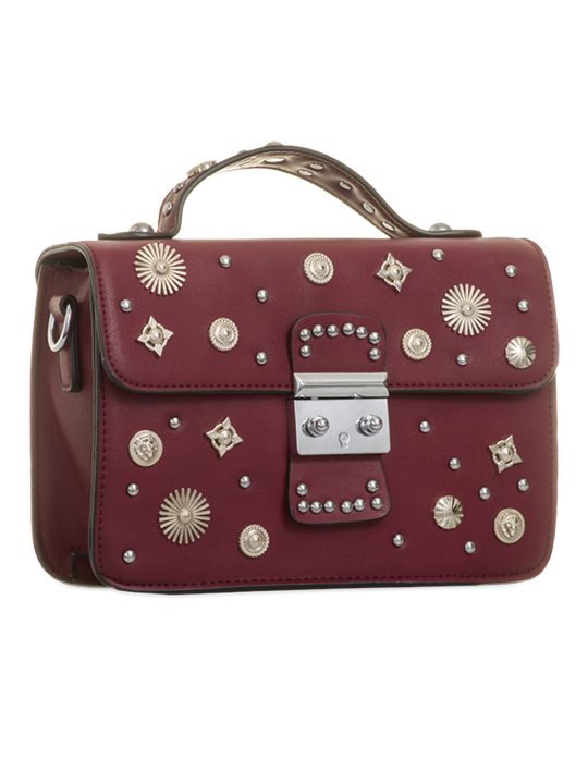 Side view of Burgundy Embellished Cross Body Bag