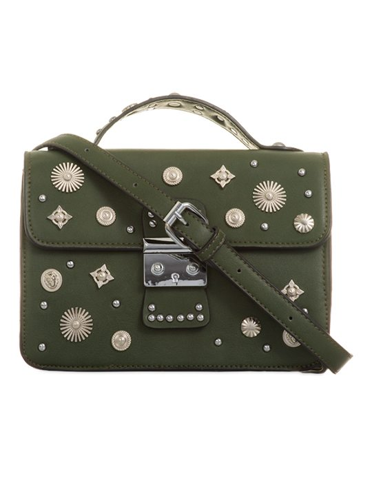Front view of Olive Embellished Cross Body Bag