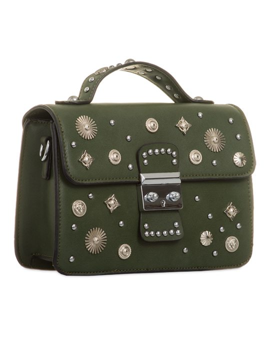Side view of Olive Embellished Cross Body Bag
