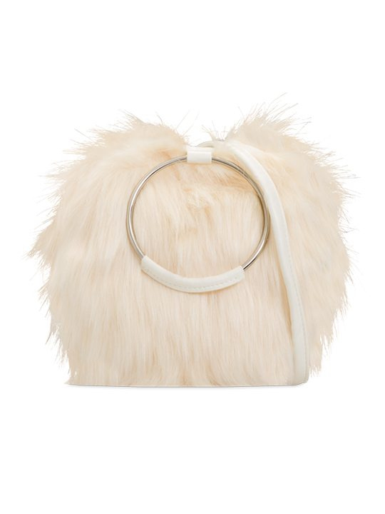 faux fur handbag ivory front view