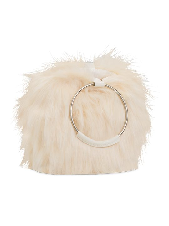 faux fur handbag ivory side view
