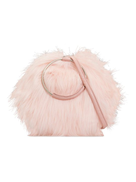 Pink faux fur handbag front view