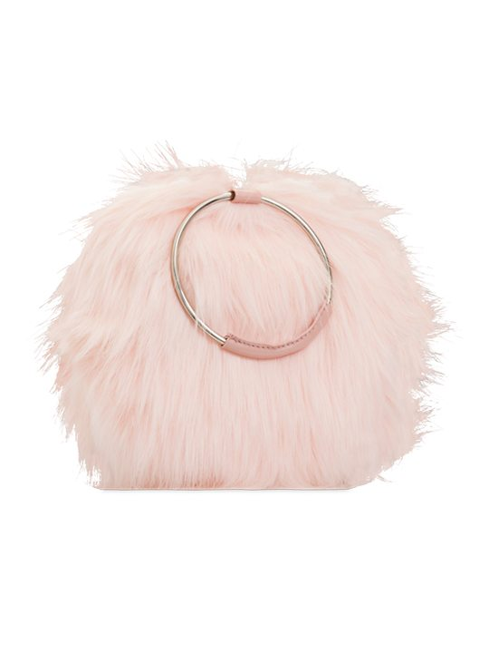 Pink faux fur handbag side view
