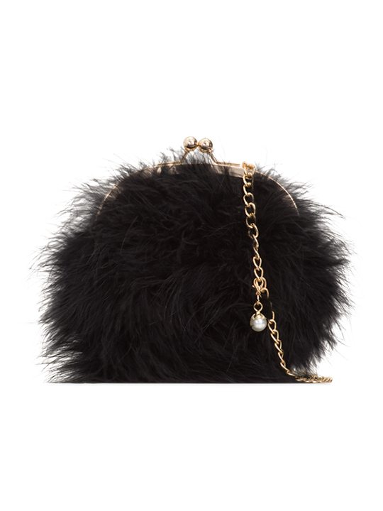 Missy Black Feather Party Clutch Bag