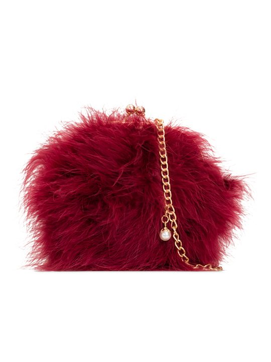 Missy Burgundy Feather Party Clutch Bag