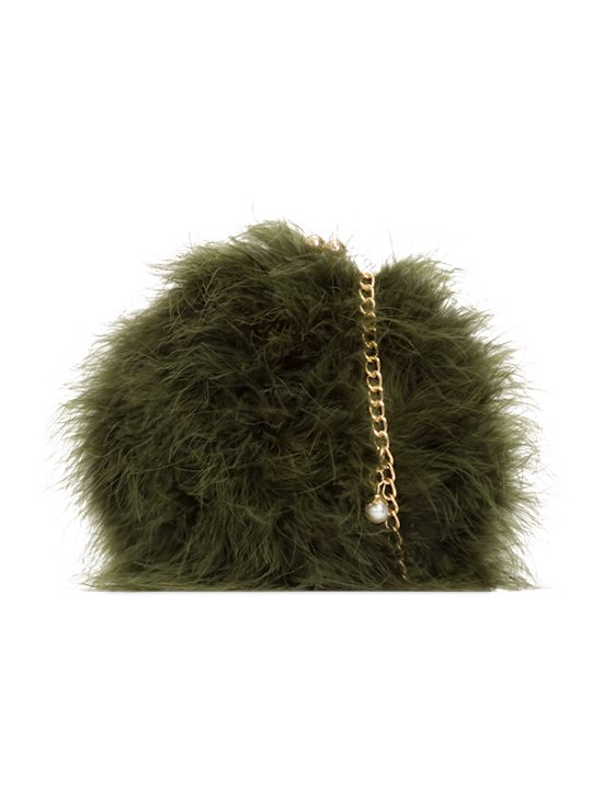 Missy Khaki Feather Party Clutch Bag