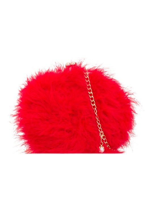 Missy Red Feather Party Clutch Bag