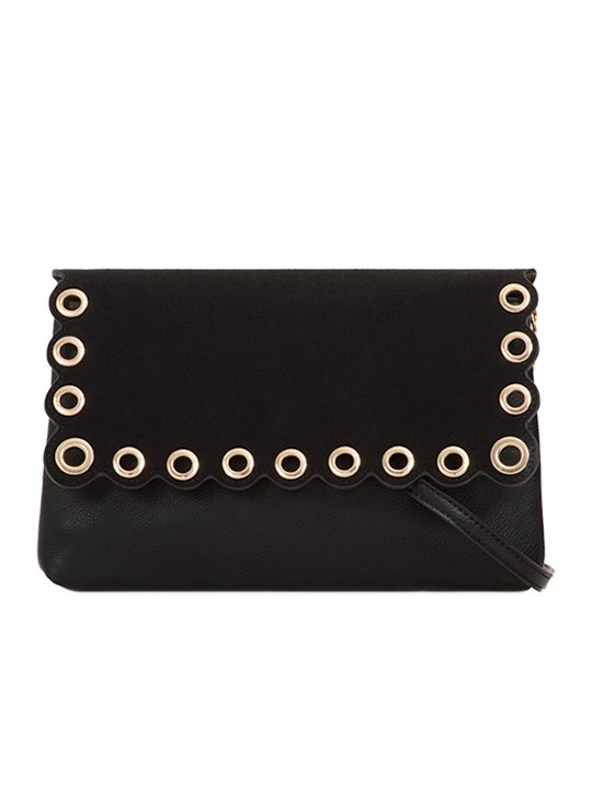 Black scallop edge clutch bag front view