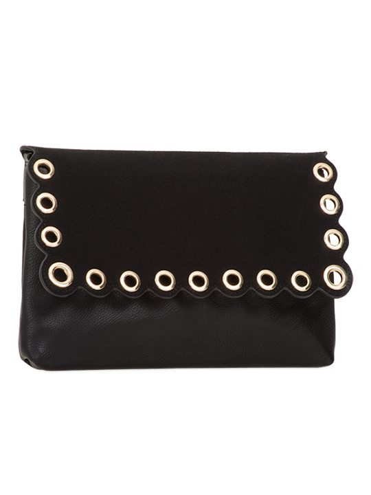 Black scallop edge clutch bag side view