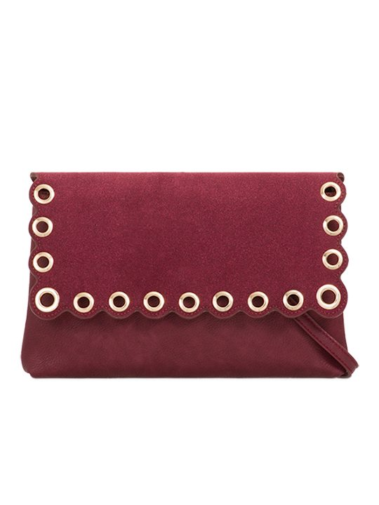 Burgundy scallop edge clutch bag front view