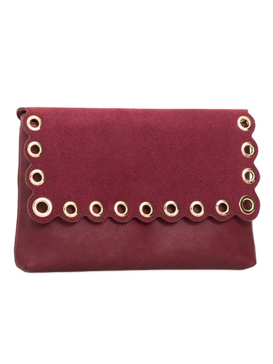 Burgundy scallop edge clutch bag side view