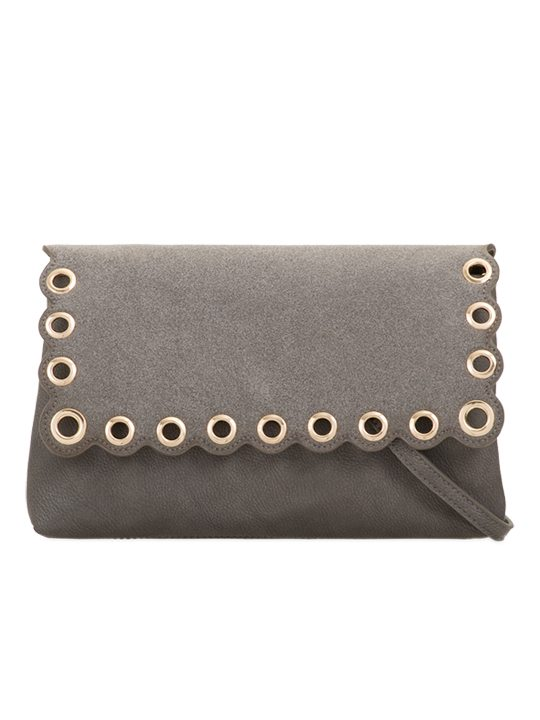 Grey Scallop Edge Clutch Bag front view