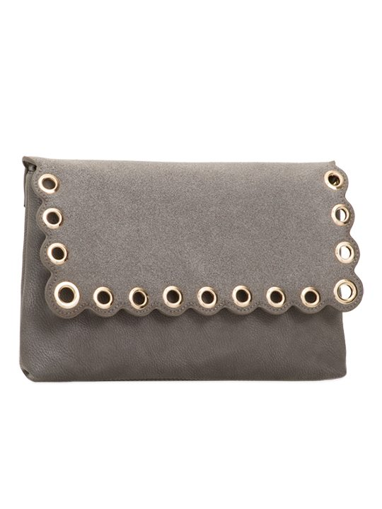 Grey Scallop Edge Clutch Bag side view