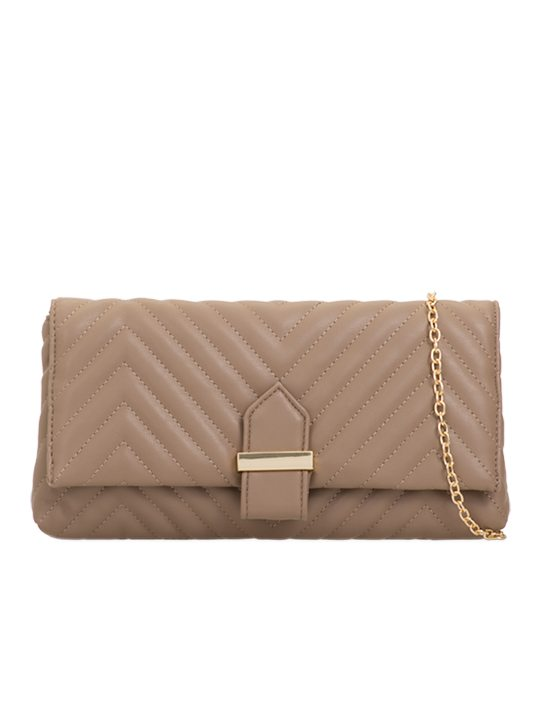 Khaki Quilted Clutch Bag front view
