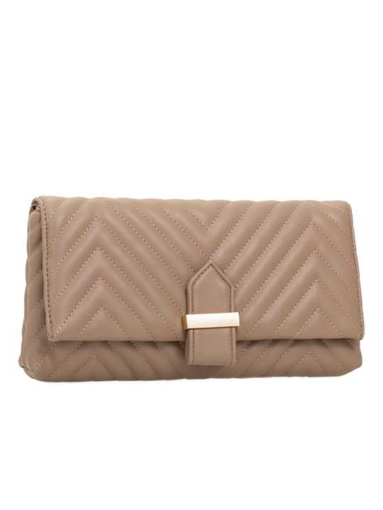 Khaki Quilted Clutch Bag side view