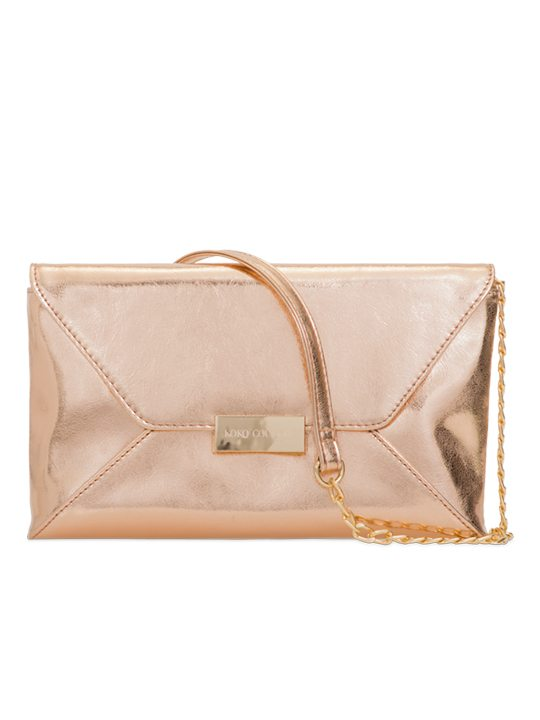 Champagne PU leather shoulder bag front view