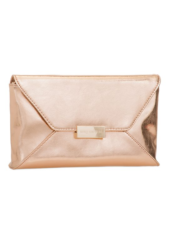 Champagne PU leather shoulder bag side view