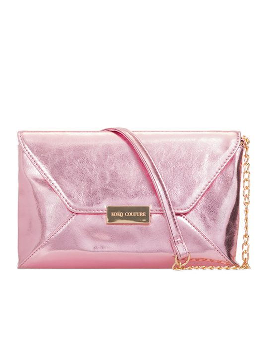 Pink PU leather shoulder bag front view