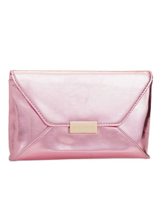 Pink PU leather shoulder bag side view